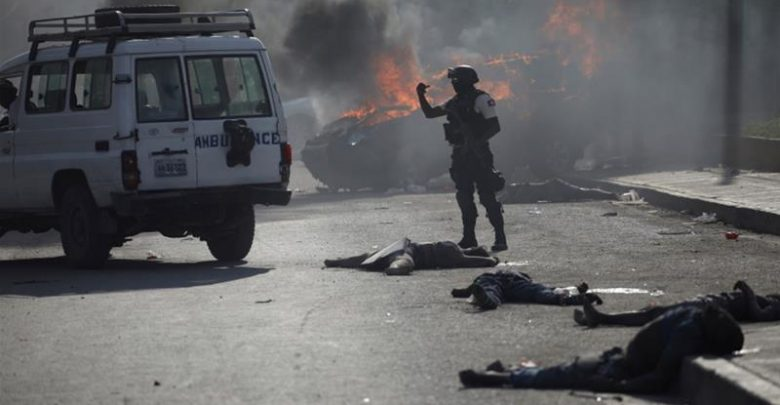 A Haitian government car crashed into a group of people on Wednesday